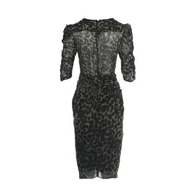 leopard pattern shirring blouse & shirring detail leopard skirt